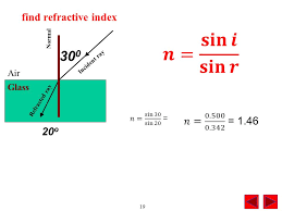 300 find refractive index 𝑛 0 500 0 342 1 46 20o air glass