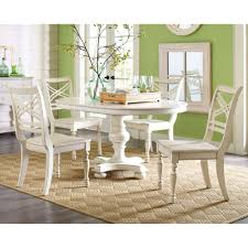 White Kitchen Set Furniture Round Breakfast Table Set Dinette Room Design With Round Glass