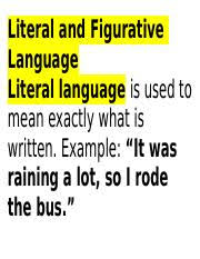 literal language literal and figurative language docx literal and