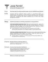 Example Cna Certified Sample Cna Resume As Resume Cover Letter