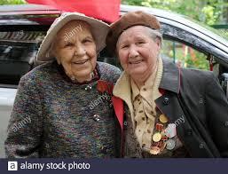 STAVROPOL, RUSSIA - MAY 9, 2020: Yulia Musikhina, 93, (L) and ...