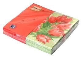 <b>Салфетки Bouquet Original</b> de Luxe Тюлпаны на зелёном 33 х 33 ...
