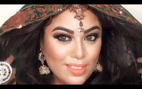 tutorial indian bridal makeup using green gold glitter