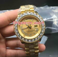 aaa big diamond automatic watch high quality stainless steel gold s multi color face dial size 43mm mens watch prestige watches bling watches from