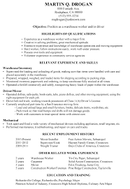 Resume Sample Warehouse Worker Driver
