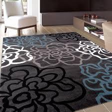 black area rugs lovely osti fl flowers dark grey contemporary modern area rug 5 3
