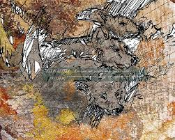 grey wolf cubs art print modern animal
