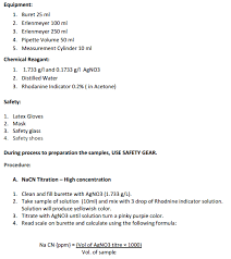 Titration Formula Titration Of Cyanide Solutions