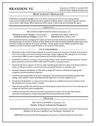 Modern Resume For Restaurant Restaurant Manager Sample Resume Resume Sample