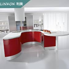 Linkok Furniture Home Use Vintage French Style Red Color Uv Kitchen