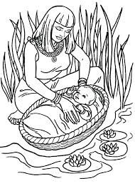 Coloring Pages Baby Moses Coloring Page With Miriam And Baby Moses