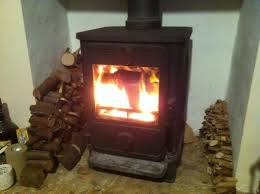 a wood burning stove in action