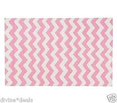 pottery barn kids chevron pink rug 100 pure wool 5 x 8 new