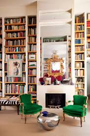 Living Room With Bookcase Best Living Rooms In Vogue Photos The Two Fireplaces And Mirror