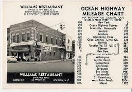 Us Highway Mileage Chart New Bern Nc Williams Restaurant Vintage Cars Mileage Chart Real Photo Postcard Ebay