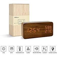 Alarm Clock for Kids---FiBiSonic Wood Digital Clock Small Brown&Orange Led  Clock,