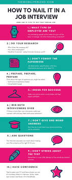 How To Nail It In A Job Interview Infographic Awesome Tips
