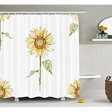 Sunflower Decor Shower Curtain Set By Ambesonne, Sunflowers In Watercolor  Painting Effect Minimalistic Design Decorative