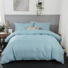 bedding set green stripe soft duvet cover with pillowcase bedlinen single queen king size bedroom quilt sets duvet covers full from carmlin