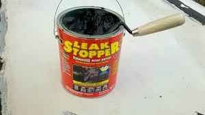fix roof leak. use rubberized leak stopper to repair camper roof fix