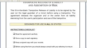 General Waiver Liability Form Trampoline Release Of Liability YouTube 19