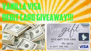 vanilla visa gift debit card giveaway 800 subscriber giveaway