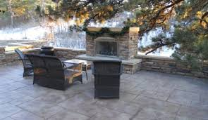 Wonderful Stamped Concrete Patio With Fireplace Outdoor C Inside Simple Design