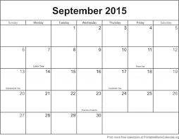 September 2015 Printable Calendar Printable Blank Calendar Org