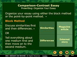 Writing Workshop Writing A Compare Contrast Essay Assignment
