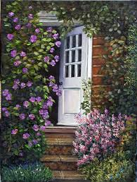 open door painting. Painting: The Open Door (with Clamatis And Bush Lilacs), Florals \u0026 Through Painting