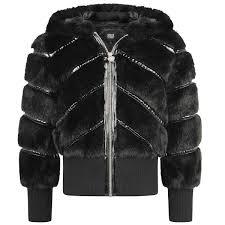 armani junior girls black faux fur jacket