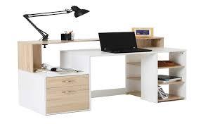 Designer home office desks Nice Homcom 55 Multi Shelf Modern Home Office Desk With Shelves Drawers Light Oak White Amazoncom Amazoncom Homcom 55