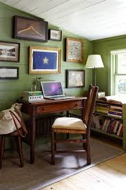 green home office. Simple Green Tiny Farmhouse Home Office With Beam Ceiling Some Antique Furniture Pieces  And Green Shiplap Panel On Green Home Office T