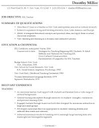 Gallery Of Resume Esl Teacher Examples Of Resumes For Teachers