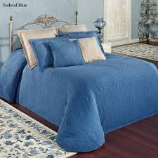 cool blue king charles matelasse coverlet design combine with dark wood flooring viewing gallery