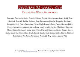 descriptive words for animals descriptive words list of  animals descriptive words