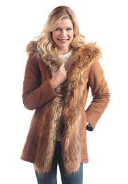 faux suede fur mid length hooded coat