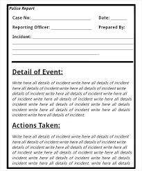 Crime Report Template Cool National Police Incident Report Form Blank Template Sample Fake