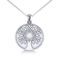 jewish family tree star of david pendant necklace 14k white gold