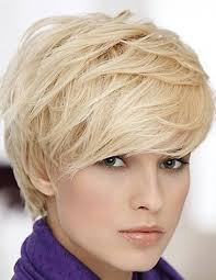 cute short blonde hairstyle with bangs for thick hair