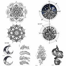 Black Henna Flora Temporary Tattoo Mandala Compass Arm Stickers Women Body Art Fake Tattoo Men Ankle Hill Waterproof Tattoo Moon