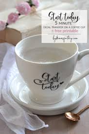 another diy 5 minute decal transfer on a coffee cup decorate your coffee