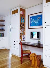 whiteboard cork board wall organizer with contemporary home office also bird art built in cabinets built in desk flat panel cabinets light wood floor office