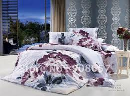 grey purple chinese prints flower duvet quilt covers sets 4pc for home textile full queen