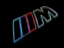 bmw m3 logo 3d. bmw m logo as a colorful silhouette rendering with glow against shiny black surface bmw m3 3d