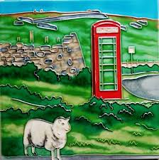 hand painted ceramic picture tiles