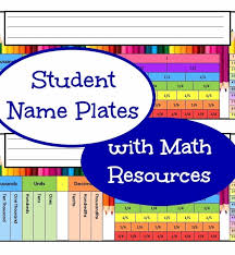student desk name labels with math resources grades 3 4 and 5