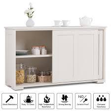 Image Sideboard Buffet Overstockcom Costway Kitchen Storage Cabinet Sideboard Buffet Cupboard Wood Sliding Door Pantry