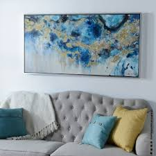 on navy blue and teal wall art with blue geode and marble framed canvas art print kirklands