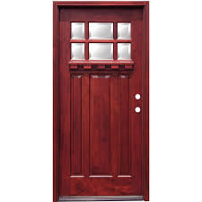 craftsman 6 lite stained mahogany wood prehung